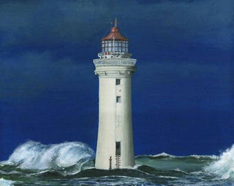 Acrylic painting: Lighthouse Liverpool