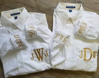 Monogrammed Bridal Shirt, Bridal Oxford, Monogrammed Oversized Button down, Bride Oxford, Bridal Shirt with Metallic Thread-G01