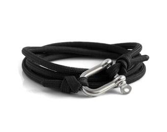 Shackle Bracelet, Black & Silver, Sailing Rope Bracelet, Mens Bracelet, Nautical Jewellery.
