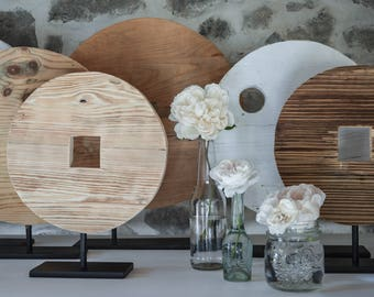 Pi circles made from vintage wood on metal stand,old wood decoration,design deco,pure, raw, boho, Scandinavian,decor