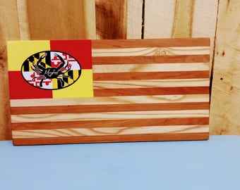 Rustic Wooden Maryland flag