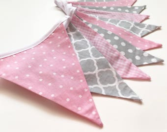 Pink and Grey Bunting, Baby Girl Decor, Nursery Decor, Fabric Bunting, Flag Banner, Baby Bunting, Baby Shower Decor, Nessa Foye