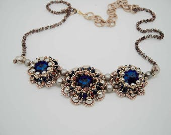 Collier Trilogy with Swarovski crystals and Cabochon Blue Copper, Copper Superduo