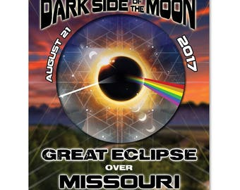 EC030 - Missouri - Dark Side of the Moon Total Solar Eclipse 2017 Sticker (or MAGNET)