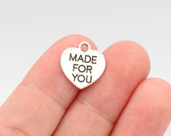 12 Pcs Made For You Charms Heart Pendants Antique Silver Tone 2 Sided 15x14mm - YD0886