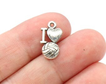 10 Pcs Volleyball Charms Ball Charms I Love Ball Charms Pendants Antique Silver Tone 2 Sided 7x19mm - YD0200