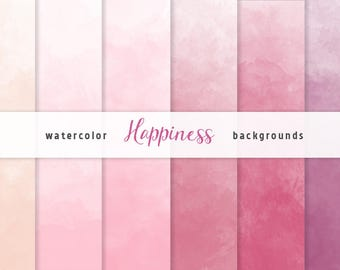 Pink Ombre Watercolor Digital Paper set, 6 Digital Backgrounds, Scrapbooking, Crafts, Invitations, Digital Scrapbooking