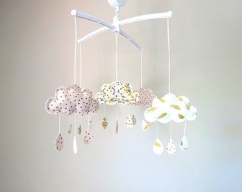 Musical mobile clouds drops pink white gold