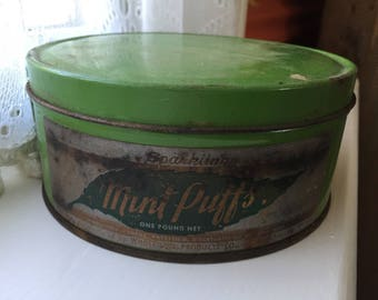 SHIPS FREE! Green Vintage Mint Puffs Tin
