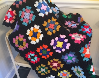 Handmade Vintage Black & Multi Granny Square Afghan Blanket