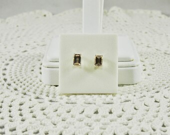 Cor de Rosa Morganite 1.02 TCW 6 x 4 MM Emerald Cut Sterling Silver Stud Earrings