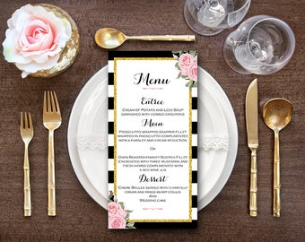 Pink Printable Wedding Menu, Custom Wedding Menu Printable, Wedding Menu Template - Digital File, DIY Print WD58 WM31