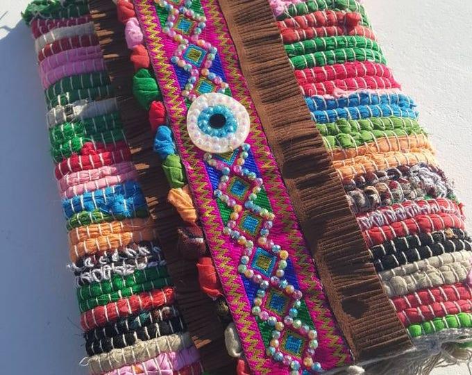 Ragrug bag/kilim bag/messenger bag/vintage/boho bag/ethnic bag/handmade bag/crystals/eye for luck/colorful bag/embellished bag/vintage