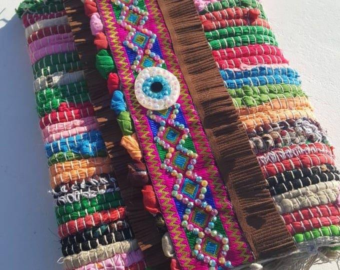DHL FREE Ragrug bag/kilim bag/messenger bag/boho bag/ethnic bag/handmade bag/crystals/eye for luck/colorful bag/embellished bag/vintage