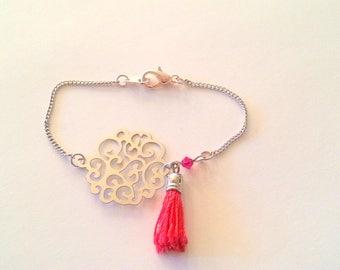 Tassel and Red swarovski beads silver bracelet