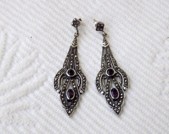 A Pair Of Vintage 1970's Solid Silver Marcasite And Amethyst Drop Earrings In The Edwardian Style