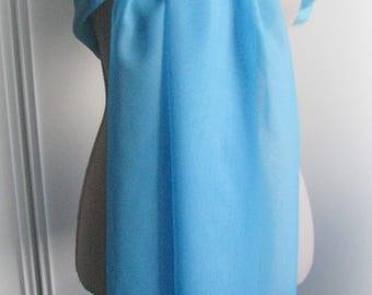 Large turquoise blue chiffon scarf