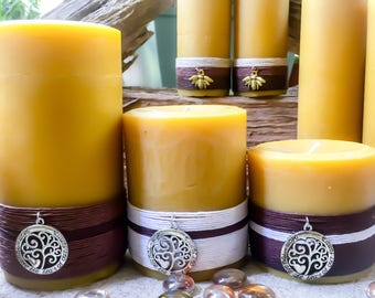 Beeswax Candles-Organic Beeswax Pillar Candles-Set of 3 Pure Beeswax Candles-Gift For Mom-Beeswax Candle Gift Set-Pure Beeswax Candles