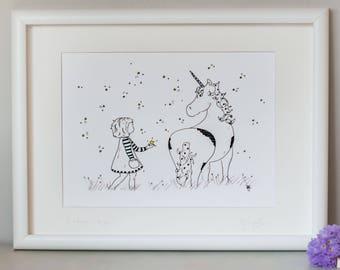 Unicorn print; Unicorn illustration; Childrens art; nursery art print; childrens picture; fairy tale illustration