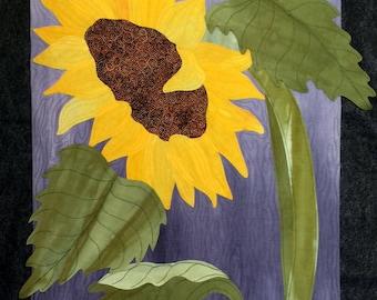 Pair of Sunflowers, art quilt, fiber art, wall decor, flower art, hand-dyed, original, botanical art, wall hanging, summer flowers, yellow