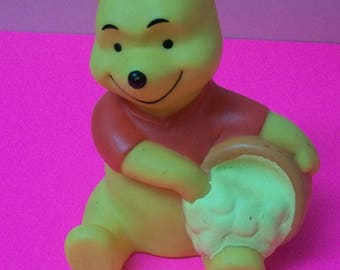 """Winnie The Pooh  And Hunny Jar Plastic Coin Bank With Stopper 6.5"""" Tall Lots Of Ground In Stains  See Item Description For Flaws"""