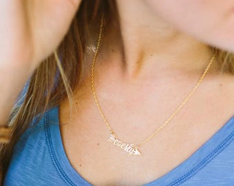 Arrow Name Necklace - Gold-Plated Name Necklace - Name Necklace - Arrow Necklace