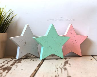 Set of 3 Wooden Stars | Rustic Wood Star | freestanding star | distressed stars | nursery stars