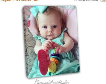 Summer Sale Picture on Canvas/ baby girl Picture, Personalized picture/ Canvas gift idea/ Gallery Wrapped Canvas/ Unique decor. Chri