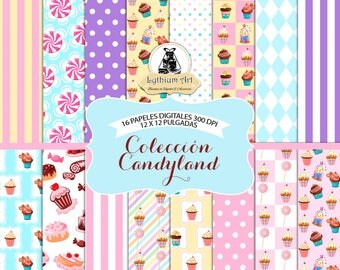 Candyland Digital Paper, Candyland Paper,Candyland Scrapbook Paper,Printable Paper,Instant Download,Sweets Printable,Scrapbook,Candy Digital