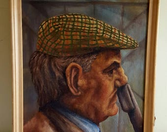 Oil on Canvas Portait of Fisherman signed JM Bartlett?