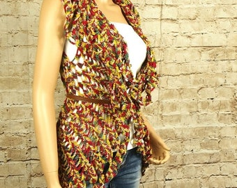 SALE Crocheted circle vest, crochet cardigan, handmade gift for her by RedWings