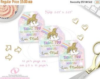 ON SALE Unicorn favor tags, Unicorn gift tags, Unicorn Decoration, Personalized Favor Tags, Favor Tag, Printable, DIY, Pdf