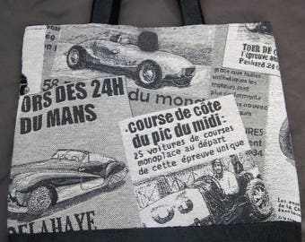 Large printed faux distressed gray leather and old cars
