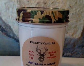 8oz NECTARINE & HONEY Mason Jar Candle with Camo Lid