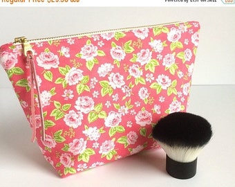 Large Makeup Bag - Pink Pouch - Gift for Her - Large Makeup Bag - Gift for Women- Floral Bag