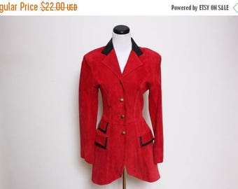 30% OFF VTG 90s Red Black Leather Suede Tailored Blazer S