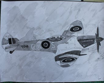 "signed original drawing ink China and wash ""Spitfire"" aviation World War II large format 50 x 65"