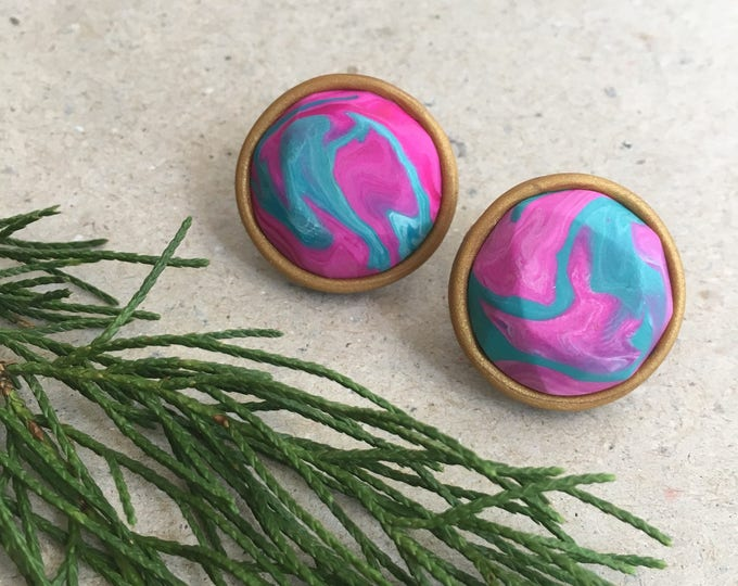 MARBLE MUMMA EARRINGS// Handmade, teal and fuchsia marble stud earrings // Large polymer clay jewel studs
