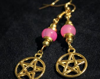 Earrings gilded with pink beads and pentacle pendant