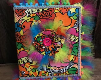 "Rainbow Fabric Covered Photo AlBum ""Free Bird"""