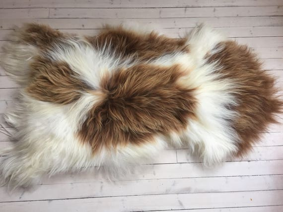 Spotted, long haired, large sheepskin rug spael sheep throw Brown, white - 17193