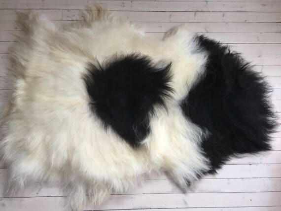Spotted, long haired, large sheepskin rug spael sheep throw black, white - 17198