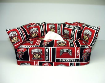 Ohio State University Licensed fabric tissue box cover, Kleenex box cover.