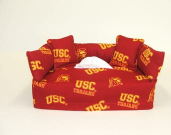 USC Licensed fabric tissue box cover, Kleenex box cover.