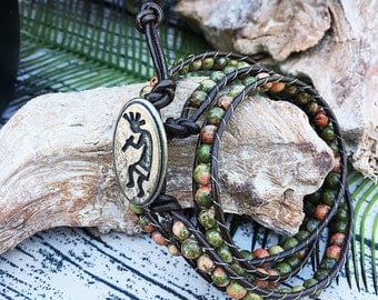 Handcrafted jewelry, Triple wrap Unakite stone bracelet