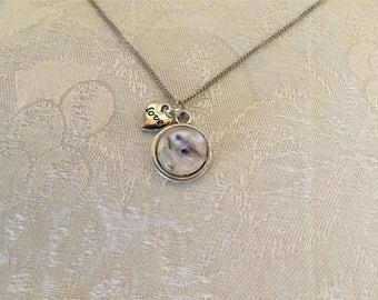 Glass Squirrel Silver Tone Pendant Necklace