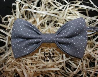 Elegant gray bow tie,bow tie for man,mens bow tie, boys bow tie, wedding bow tie, bow tie man,gray polka dot bow tie