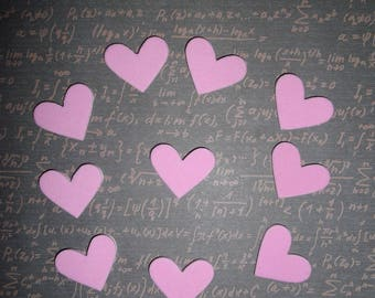 set of 10 pink foam hearts