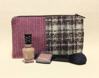 Welsh tweed zipped washbag, Toiletries bag, cosmetics, make-up bag, pencil case in pink and brown