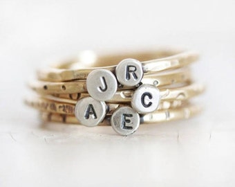 ONE Gold Initial Ring / Mothers Ring / Gift for Mom / Stacking Rustic Ring / Initial Rings / Mother Ring/ Personalized Ring / Love Jewelry